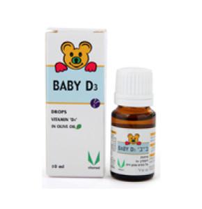 """בייבי D3   טיפות ויטמין די 3 על בסיס שמן בית 10 מ""""ל   BABY D3"""