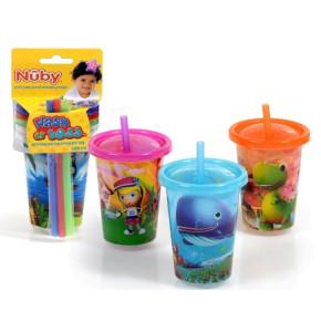 כוס עם קשית ומכסה מצויירים 3 כוסות נובי NUBY
