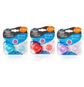 זוג מוצצים מאווררים במיוחד 6-18 חודשים צבעים לבחירה Tommee Tippee Closer to Nature Air Style טומי טיפי