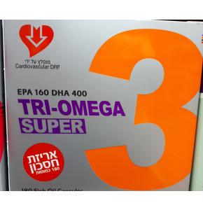 תרי אומגה סופר אומגה 3 ואומגה 9 אריזת חיסכון 180 כמוסות TRI-OMEGA SUPER