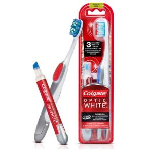 עט להלבנה ומברשת שיניים קולגייט Optic White Colgate