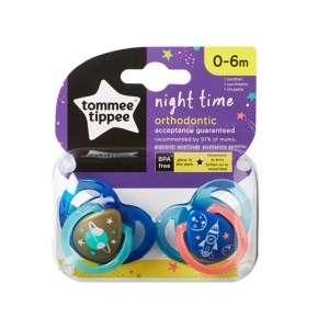 זוג מוצצים ללילה זוהרים בחושך Tommee Tippee Closer to Nature Night Time טומי טיפי הכי טבעי