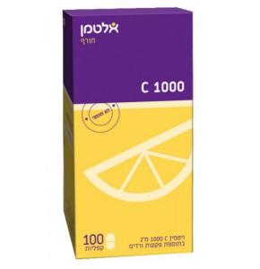 """ויטמין C 1000 מ""""ג בתוספת פקעת ורדים אלטמן ויטמין סי 100 קפליות"""