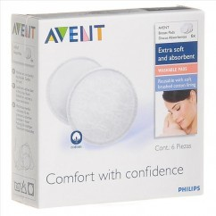 אוונט רפידות הנקה לשימוש רב פעמי   100 אחוז כותנה   AVENT BreastFeeding Pads