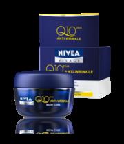 קרם לילה קיו 10 למניעת קמטים | NIVEA Visage Q10 Anti Wrinkle Night Cream ניוואה