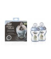 """זוג בקבוקים הכי טבעי 260 מ""""ל 0+ ללא ביספנול מאוייר בנים כחול Tommee Tippee Closer to Nature Bottles טומי טיפי"""