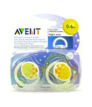 AVENT NIGHT TIME אוונט זוג מוצצי סיליקון - לשעות הלילה לגילאי 0-6 חודשים - ללא ביספינול