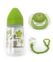 בקבוק האכלה + מוצץ + מחזיק למוצץ סט לאם ולתינוק